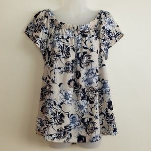 Style Rack Navy and Cream Floral Blouse